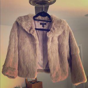 Bebe genuine fur coat capelette 3/4 sleeve